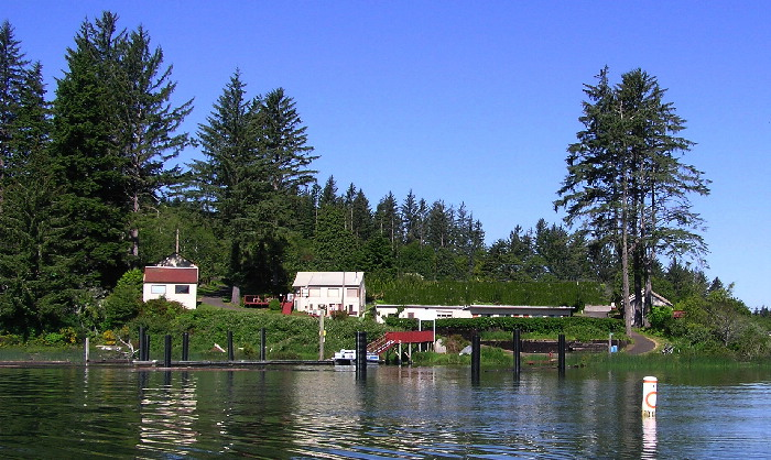This picture of Fish Mill Lodges and RV Park was taken, from Siltcoos Lake.
